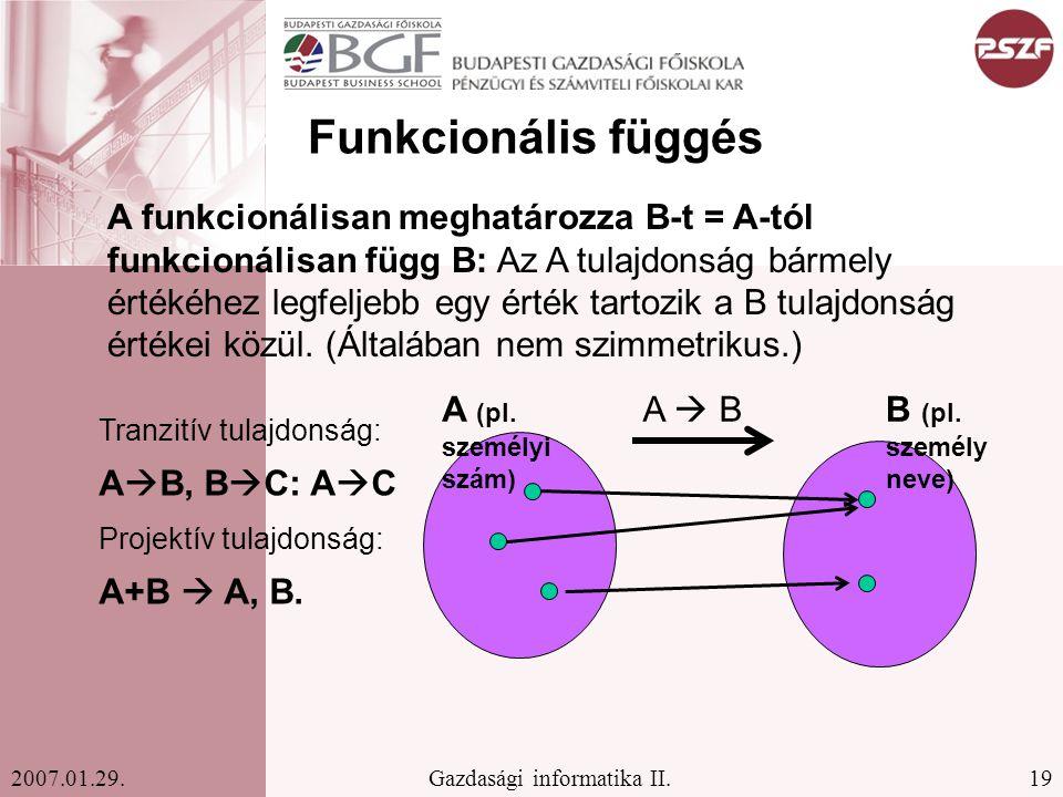 19Gazdasági informatika II.2007.01.29. Funkcionális függés A  BA (pl. személyi szám) B (pl. személy neve) A funkcionálisan meghatározza B-t = A-tól f