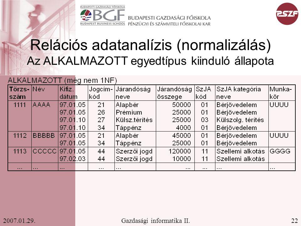 22Gazdasági informatika II.2007.01.29. Relációs adatanalízis (normalizálás) Az ALKALMAZOTT egyedtípus kiinduló állapota