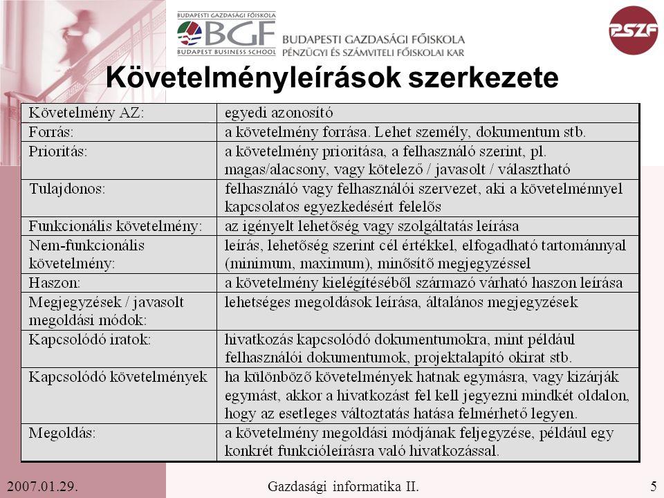 5Gazdasági informatika II.2007.01.29. Követelményleírások szerkezete