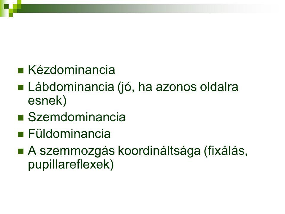 Kézdominancia Lábdominancia (jó, ha azonos oldalra esnek) Szemdominancia Füldominancia A szemmozgás koordináltsága (fixálás, pupillareflexek)