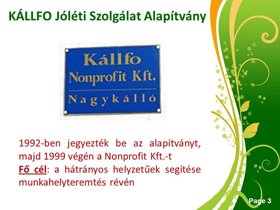 Free Powerpoint Templates Page 3 KÁLLFO Jóléti Szolgálat Alapítvány 1992-ben jegyezték be az alapítványt, majd 1999 végén a Nonprofit Kft.-t Fő cél: a