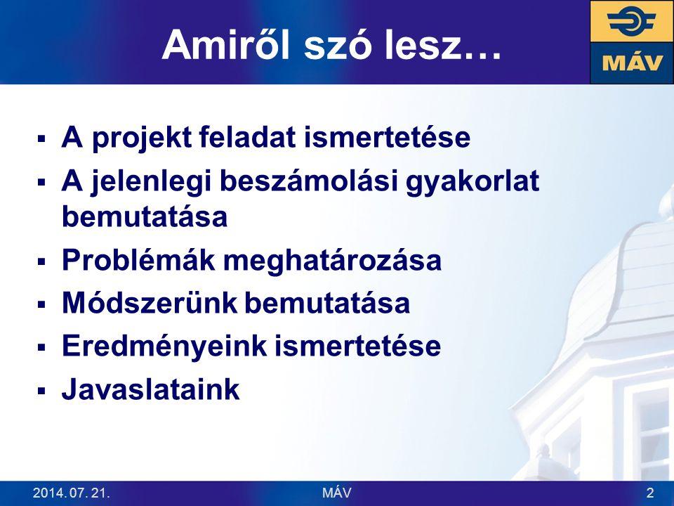 Amiről szó lesz…  A projekt feladat ismertetése  A jelenlegi beszámolási gyakorlat bemutatása  Problémák meghatározása  Módszerünk bemutatása  Er