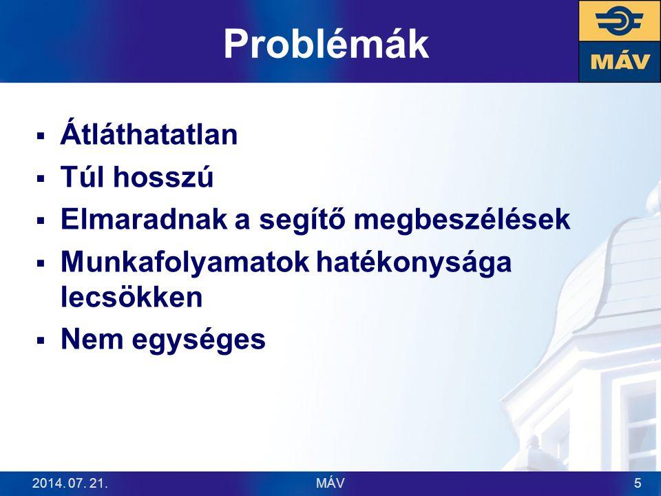 Problémák  Átláthatatlan  Túl hosszú  Elmaradnak a segítő megbeszélések  Munkafolyamatok hatékonysága lecsökken  Nem egységes 2014. 07. 21.MÁV5