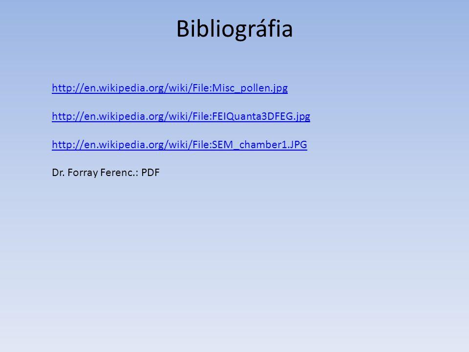 Bibliográfia http://en.wikipedia.org/wiki/File:Misc_pollen.jpg http://en.wikipedia.org/wiki/File:FEIQuanta3DFEG.jpg http://en.wikipedia.org/wiki/File:SEM_chamber1.JPG Dr.