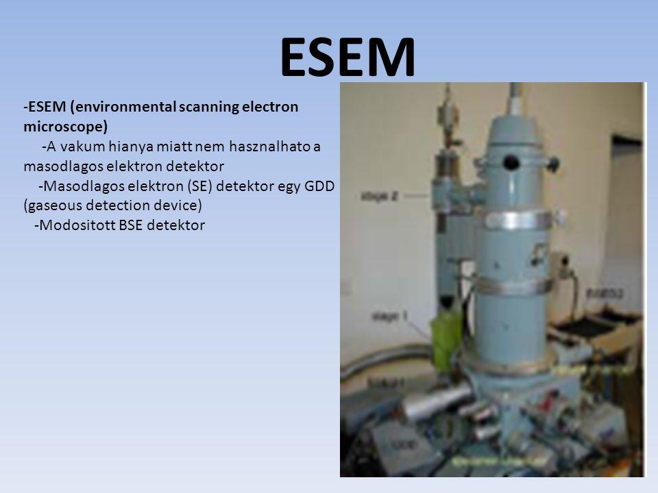 ESEM -ESEM (environmental scanning electron microscope) -A vakum hianya miatt nem hasznalhato a masodlagos elektron detektor -Masodlagos elektron (SE) detektor egy GDD (gaseous detection device) -Modositott BSE detektor