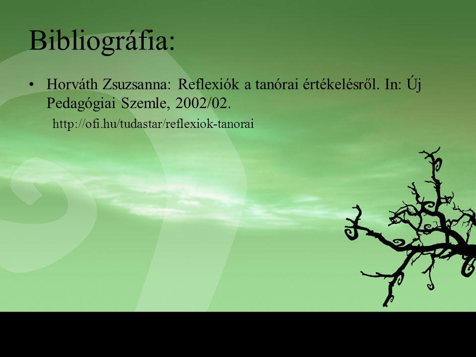 Bibliográfia: Horváth Zsuzsanna: Reflexiók a tanórai értékelésről. In: Új Pedagógiai Szemle, 2002/02. http://ofi.hu/tudastar/reflexiok-tanorai