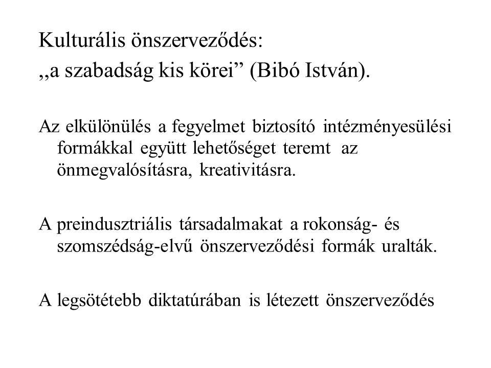 """Kulturális önszerveződés:,,a szabadság kis körei"""" (Bibó István). Az elkülönülés a fegyelmet biztosító intézményesülési formákkal együtt lehetőséget te"""