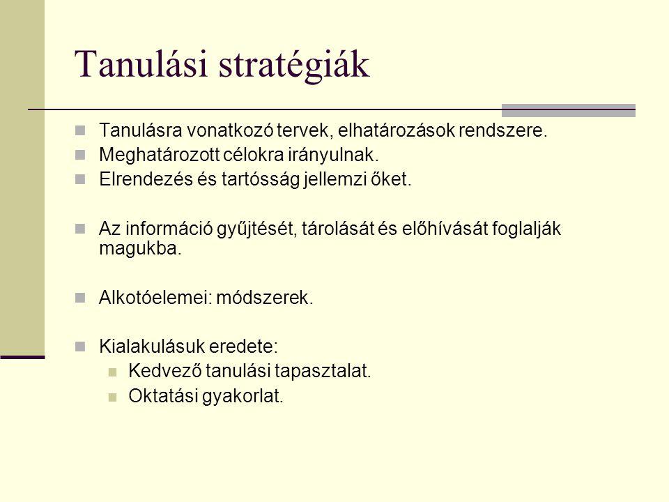 Tanulási stratégiák Tanulásra vonatkozó tervek, elhatározások rendszere. Meghatározott célokra irányulnak. Elrendezés és tartósság jellemzi őket. Az i