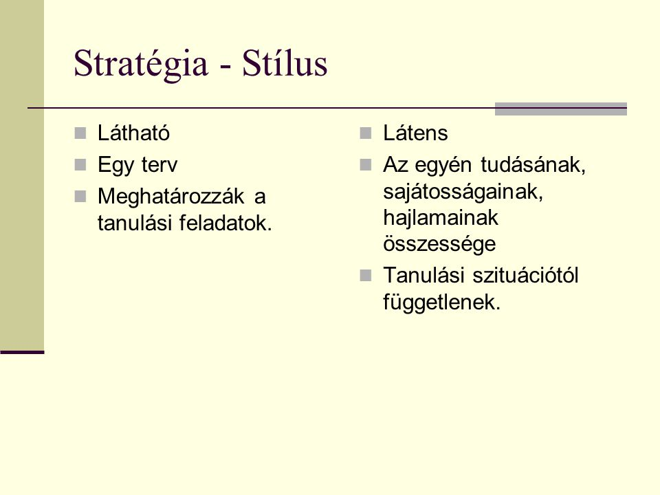 Stratégia - Stílus Látható Egy terv Meghatározzák a tanulási feladatok. Látens Az egyén tudásának, sajátosságainak, hajlamainak összessége Tanulási sz