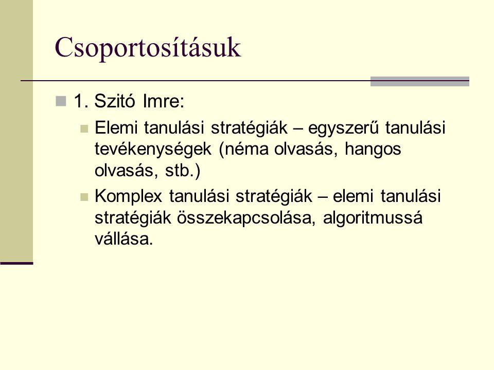 Csoportosításuk 1. Szitó Imre: Elemi tanulási stratégiák – egyszerű tanulási tevékenységek (néma olvasás, hangos olvasás, stb.) Komplex tanulási strat
