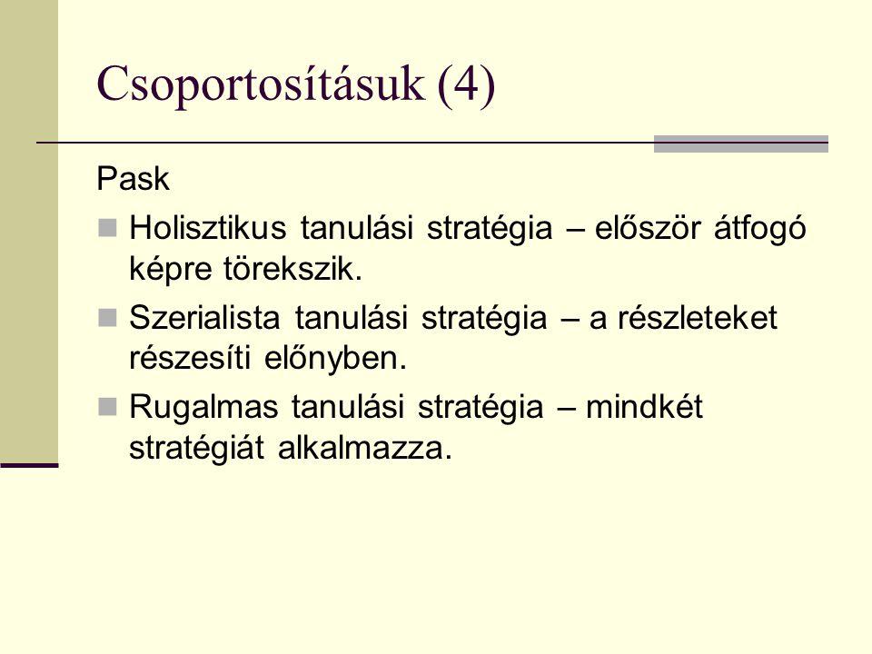 Csoportosításuk (4) Pask Holisztikus tanulási stratégia – először átfogó képre törekszik. Szerialista tanulási stratégia – a részleteket részesíti elő