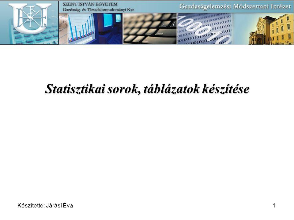 Készítette: Járási Éva12 Statisztikai programcsomagok: »MiniTab »SPSS »Excel Táblázatszerkesztés követelményei: formai: formai: – cím – megnevezések – fej és oldalrovatok – mértékegységek – forrás tartalmi: - nincs adat + előzetes becslés … létezik, de nem áll rendelkezésre 0,0 kis értékű adat * megjegyzés