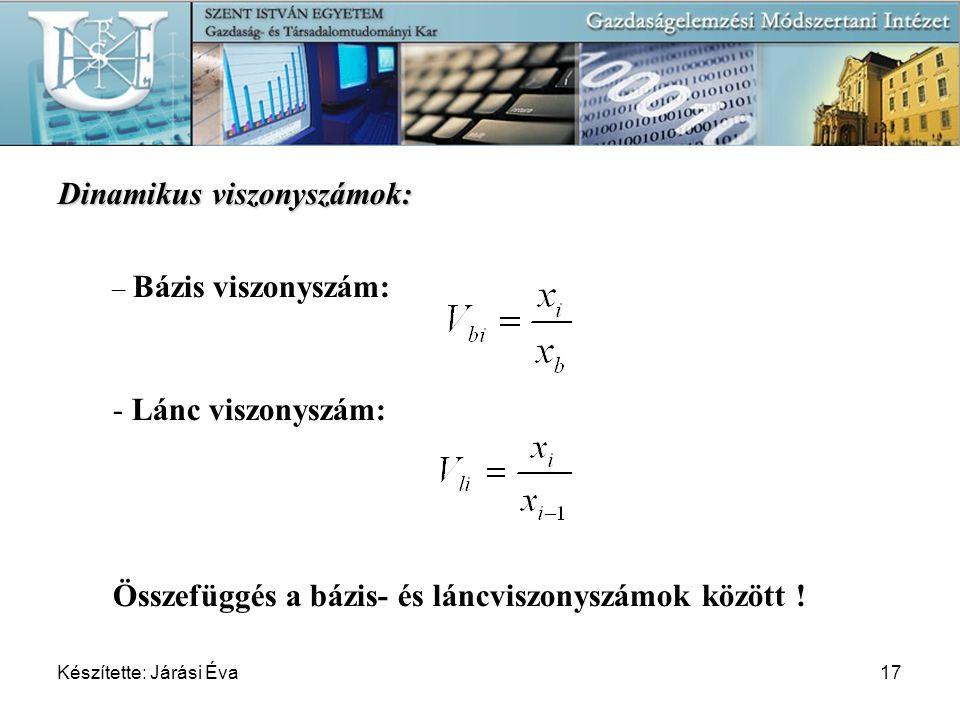 Készítette: Járási Éva17 Dinamikus viszonyszámok: – Bázis viszonyszám: - Lánc viszonyszám: Összefüggés a bázis- és láncviszonyszámok között !