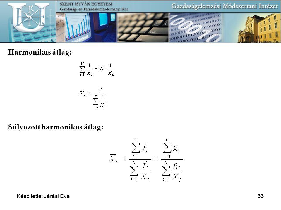 Készítette: Járási Éva53 Harmonikus átlag: Súlyozott harmonikus átlag: