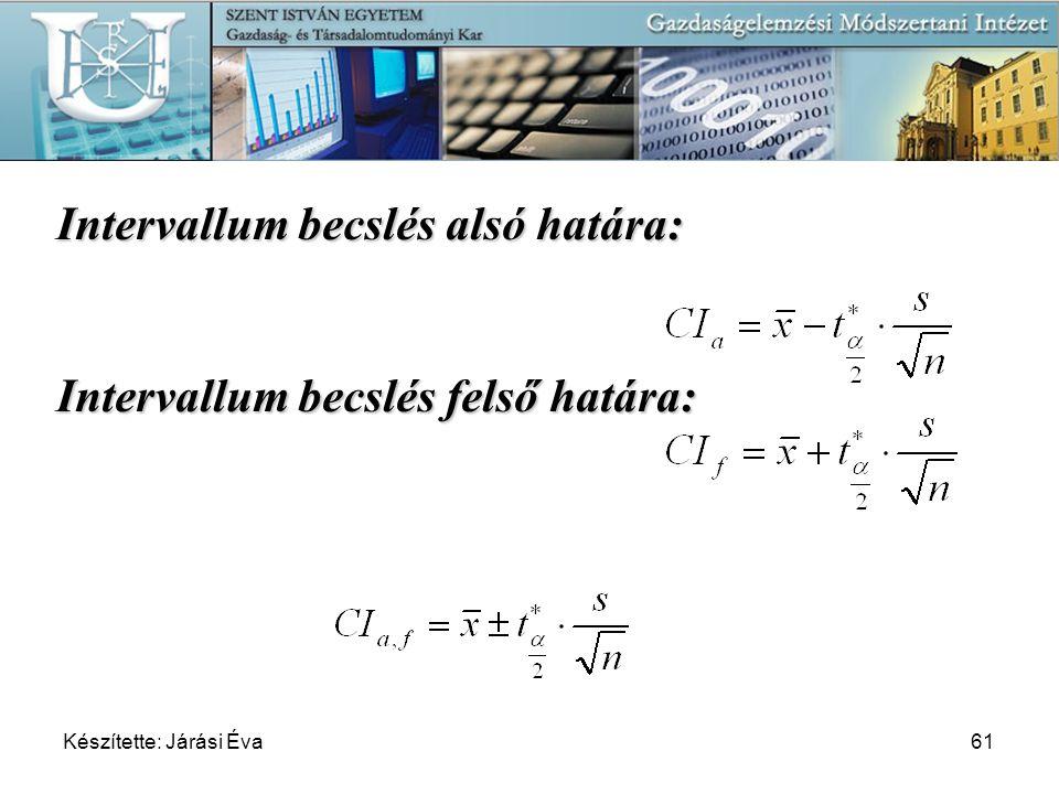Készítette: Járási Éva61 Intervallum becslés alsó határa: Intervallum becslés felső határa: