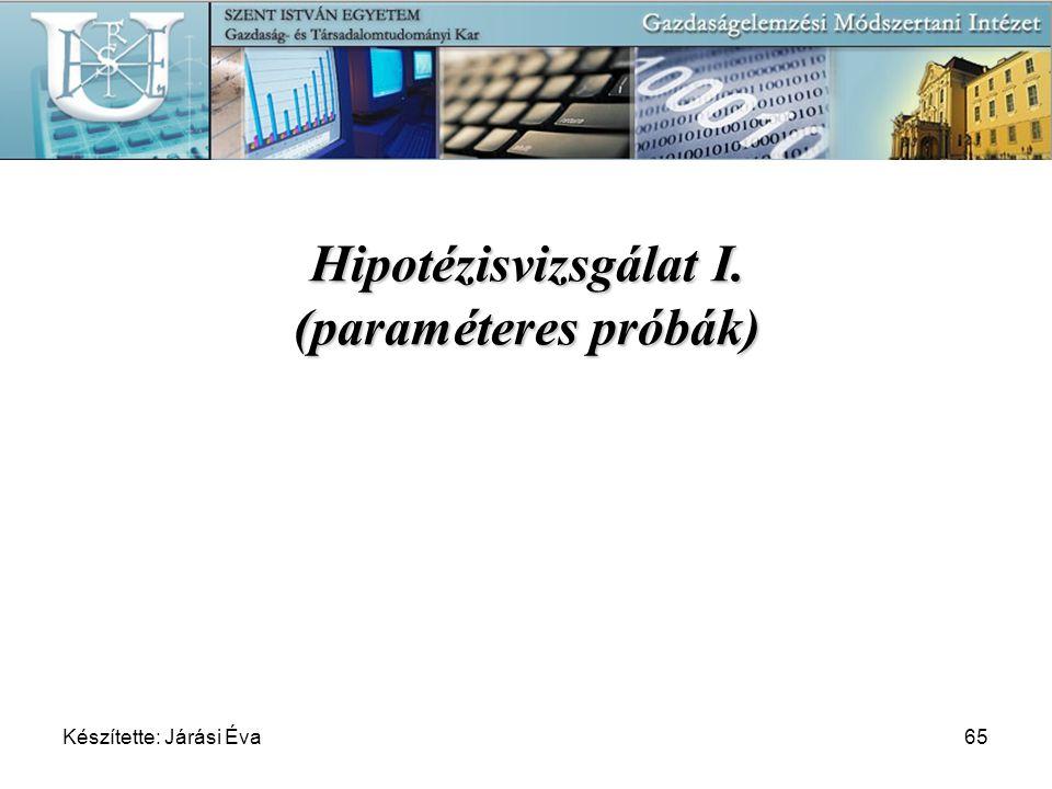 Készítette: Járási Éva65 Hipotézisvizsgálat I. (paraméteres próbák)