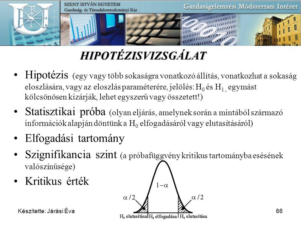 Készítette: Járási Éva66 Hipotézis (egy vagy több sokaságra vonatkozó állítás, vonatkozhat a sokaság eloszlására, vagy az eloszlás paraméterére, jelöl