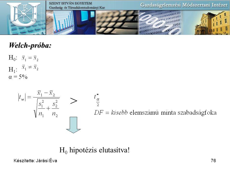 Készítette: Járási Éva76 Welch-próba: H 0 : H 1 : α = 5% > H 0 hipotézis elutasítva!