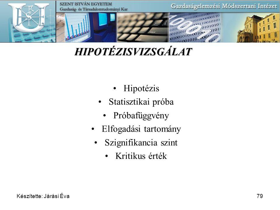 Készítette: Járási Éva79 Hipotézis Statisztikai próba Próbafüggvény Elfogadási tartomány Szignifikancia szint Kritikus érték HIPOTÉZISVIZSGÁLAT