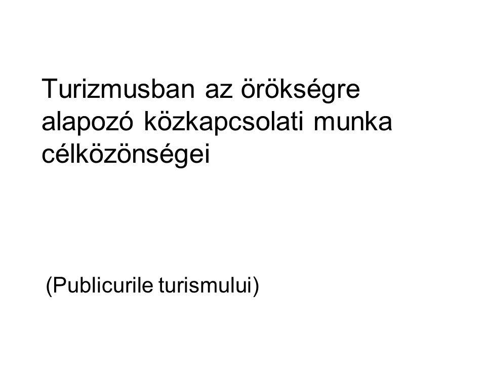 Turizmusban az örökségre alapozó közkapcsolati munka célközönségei (Publicurile turismului)