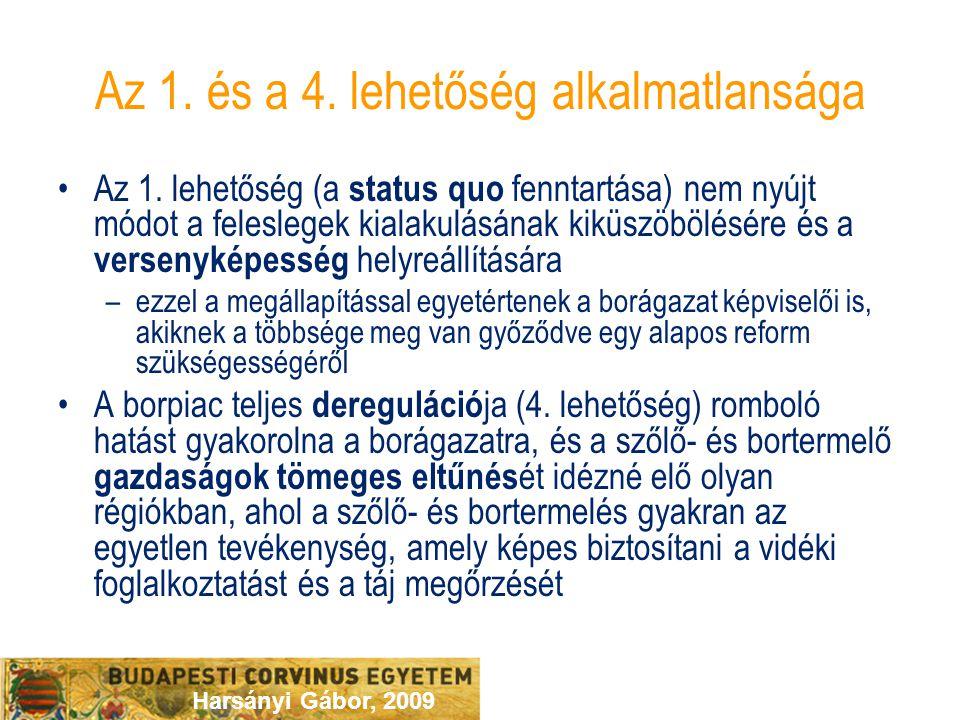 Harsányi Gábor, 2009 Az 1. és a 4. lehetőség alkalmatlansága Az 1. lehetőség (a status quo fenntartása) nem nyújt módot a feleslegek kialakulásának ki