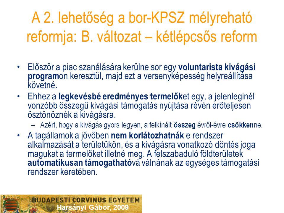 Harsányi Gábor, 2009 A 2. lehetőség a bor-KPSZ mélyreható reformja: B. változat – kétlépcsős reform Először a piac szanálására kerülne sor egy volunta