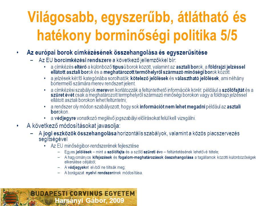 Harsányi Gábor, 2009 Világosabb, egyszerűbb, átlátható és hatékony borminőségi politika 5/5 Az európai borok címkézésének összehangolása és egyszerűsí