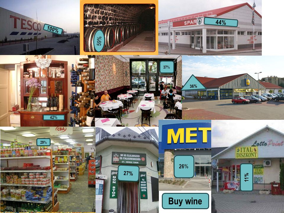 Harsányi Gábor, 2009 A borvásárlás helyszíne Vásárol-e bort havi rendszerességgel az alábbi helyszíneken? Bázis: összes válaszadó, n=500 Buy wine 100%