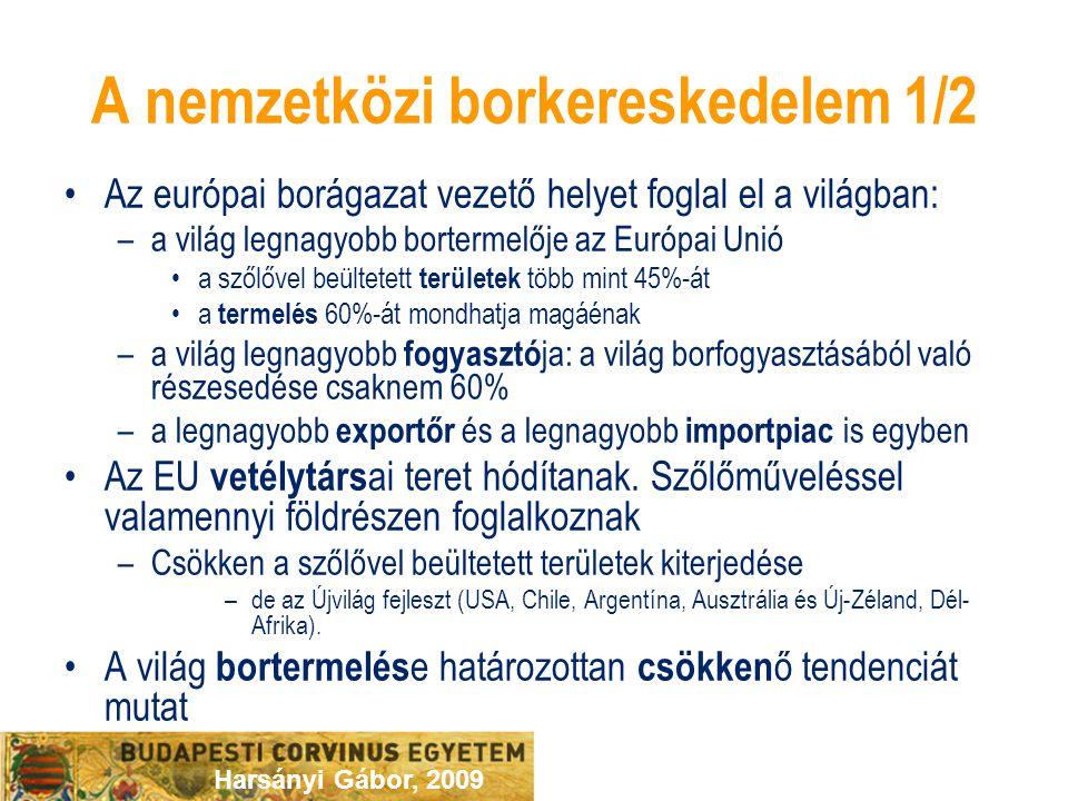 Harsányi Gábor, 2009 A nemzetközi borkereskedelem 1/2 Az európai borágazat vezető helyet foglal el a világban: –a világ legnagyobb bortermelője az Eur