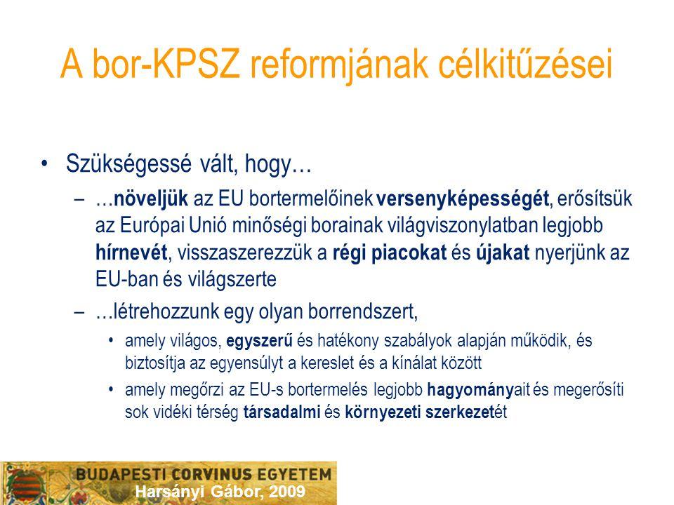 Harsányi Gábor, 2009 A bor-KPSZ reformjának célkitűzései Szükségessé vált, hogy… –… növeljük az EU bortermelőinek versenyképességét, erősítsük az Euró