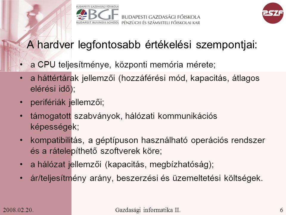 27Gazdasági informatika II.2008.02.20.