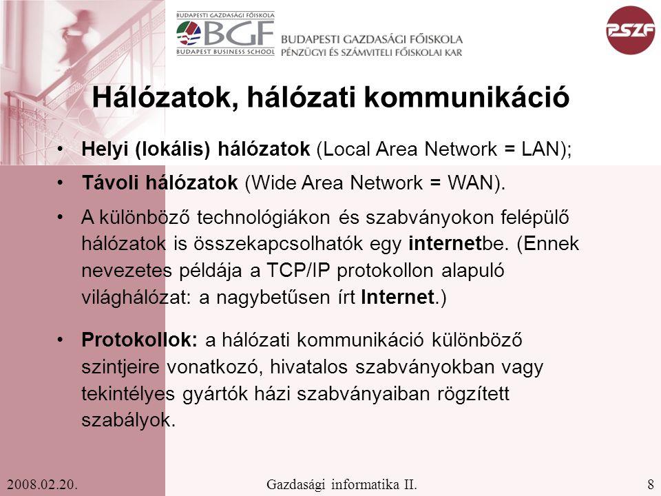 29Gazdasági informatika II.2008.02.20.