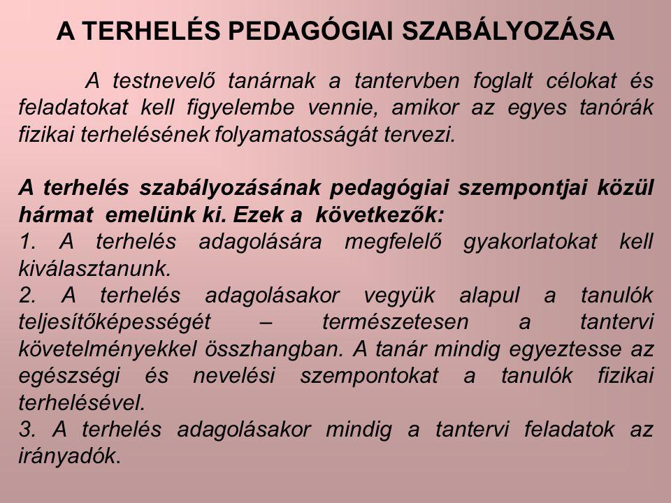 A TERHELÉS PEDAGÓGIAI SZABÁLYOZÁSA A testnevelő tanárnak a tantervben foglalt célokat és feladatokat kell figyelembe vennie, amikor az egyes tanórák f