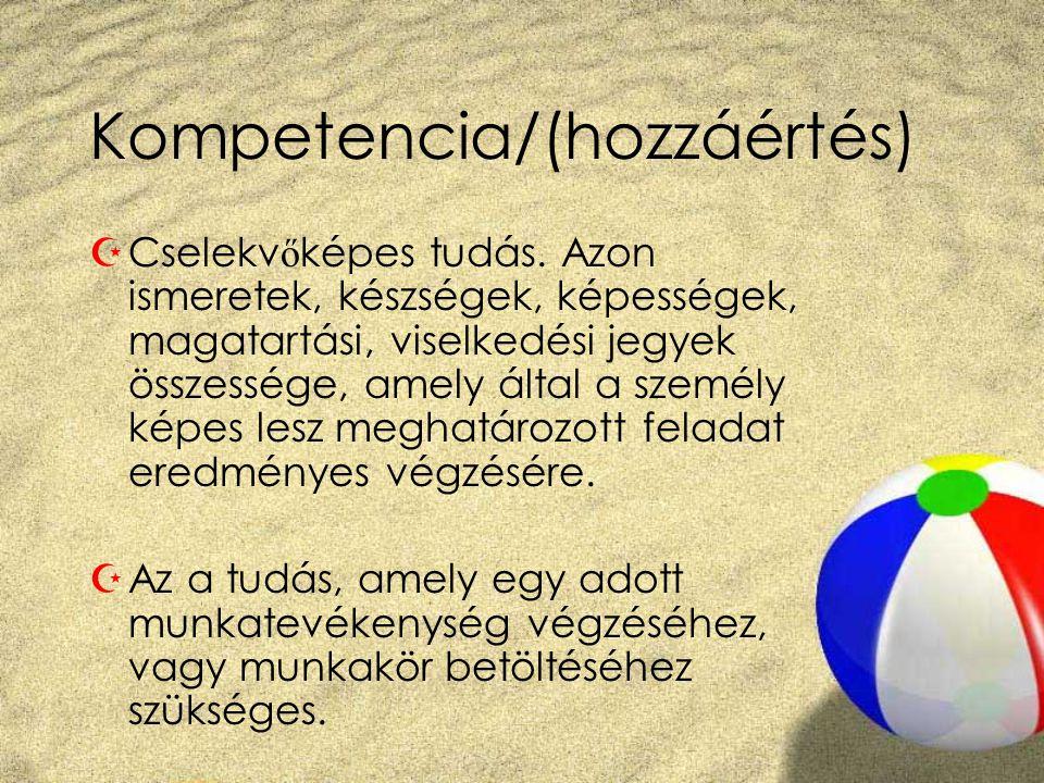Kompetencia/(hozzáértés)  Cselekv ő képes tudás. Azon ismeretek, készségek, képességek, magatartási, viselkedési jegyek összessége, amely által a sze