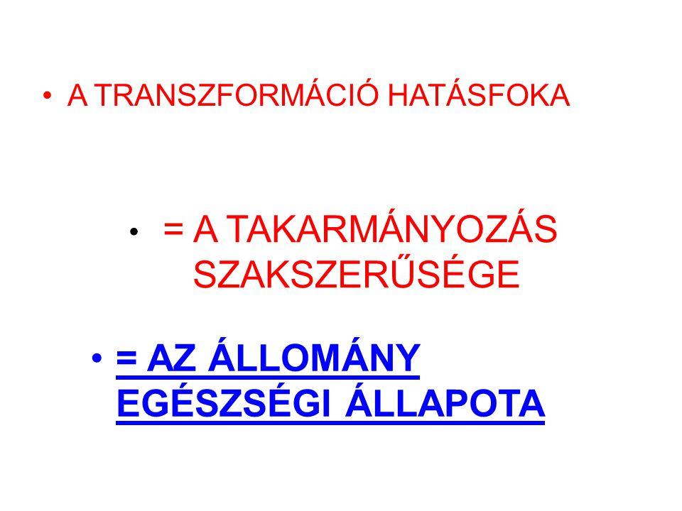 A TRANSZFORMÁCIÓ HATÁSFOKA = A TAKARMÁNYOZÁS SZAKSZERŰSÉGE = AZ ÁLLOMÁNY EGÉSZSÉGI ÁLLAPOTA