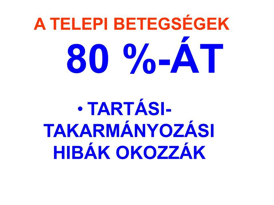 TARTÁSI- TAKARMÁNYOZÁSI HIBÁK OKOZZÁK A TELEPI BETEGSÉGEK 80 %-ÁT
