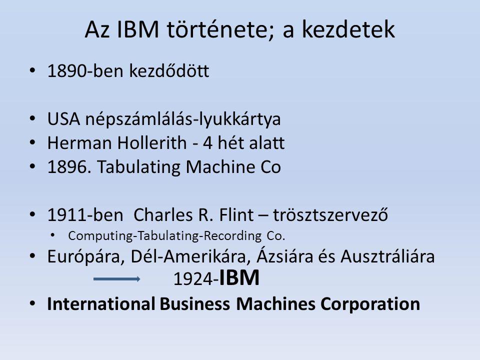 Az IBM története; a kezdetek 1890-ben kezdődött USA népszámlálás-lyukkártya Herman Hollerith - 4 hét alatt 1896. Tabulating Machine Co 1911-ben Charle