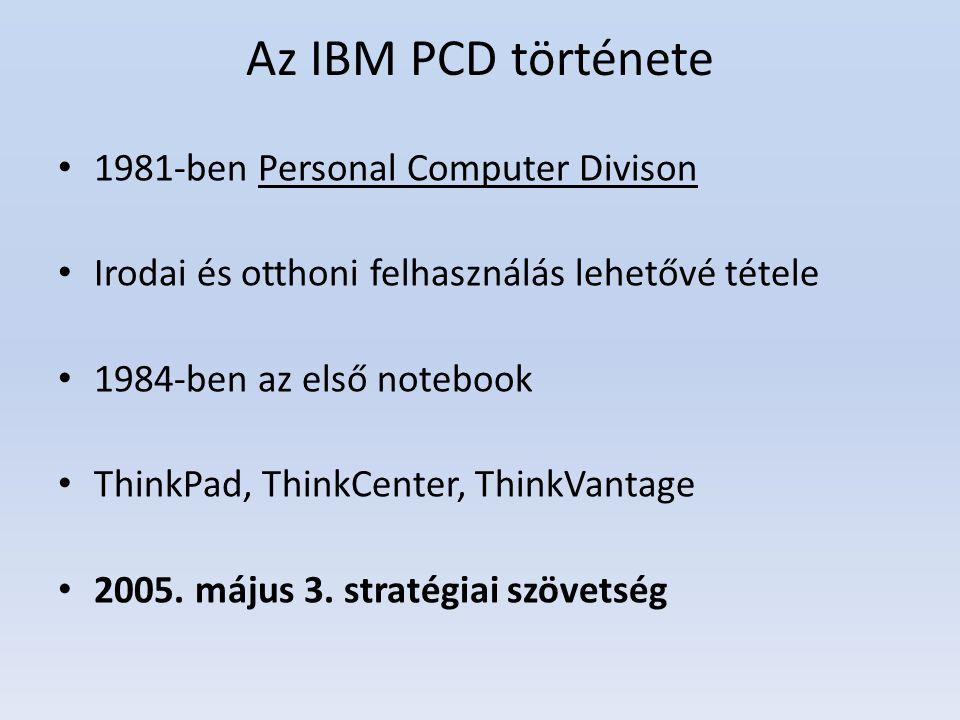 Az IBM PCD története 1981-ben Personal Computer Divison Irodai és otthoni felhasználás lehetővé tétele 1984-ben az első notebook ThinkPad, ThinkCenter