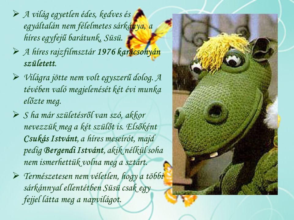  A világ egyetlen édes, kedves és egyáltalán nem félelmetes sárkánya, a híres egyfejű barátunk, Süsü.  A híres rajzfilmsztár 1976 karácsonyán szület