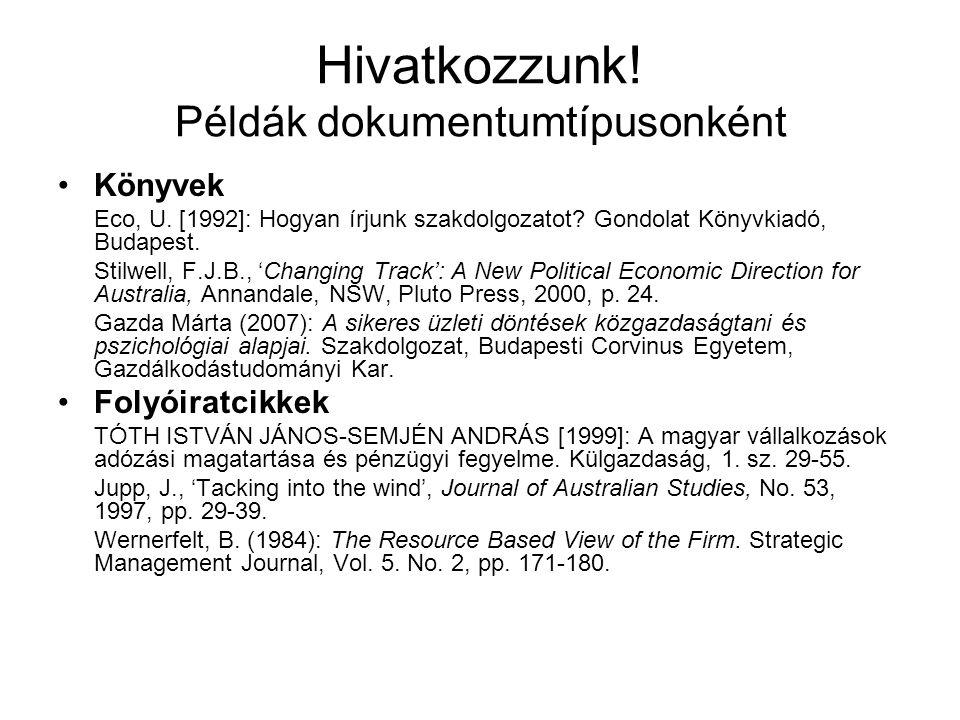 Hivatkozzunk! Példák dokumentumtípusonként Könyvek Eco, U. [1992]: Hogyan írjunk szakdolgozatot? Gondolat Könyvkiadó, Budapest. Stilwell, F.J.B., 'Cha