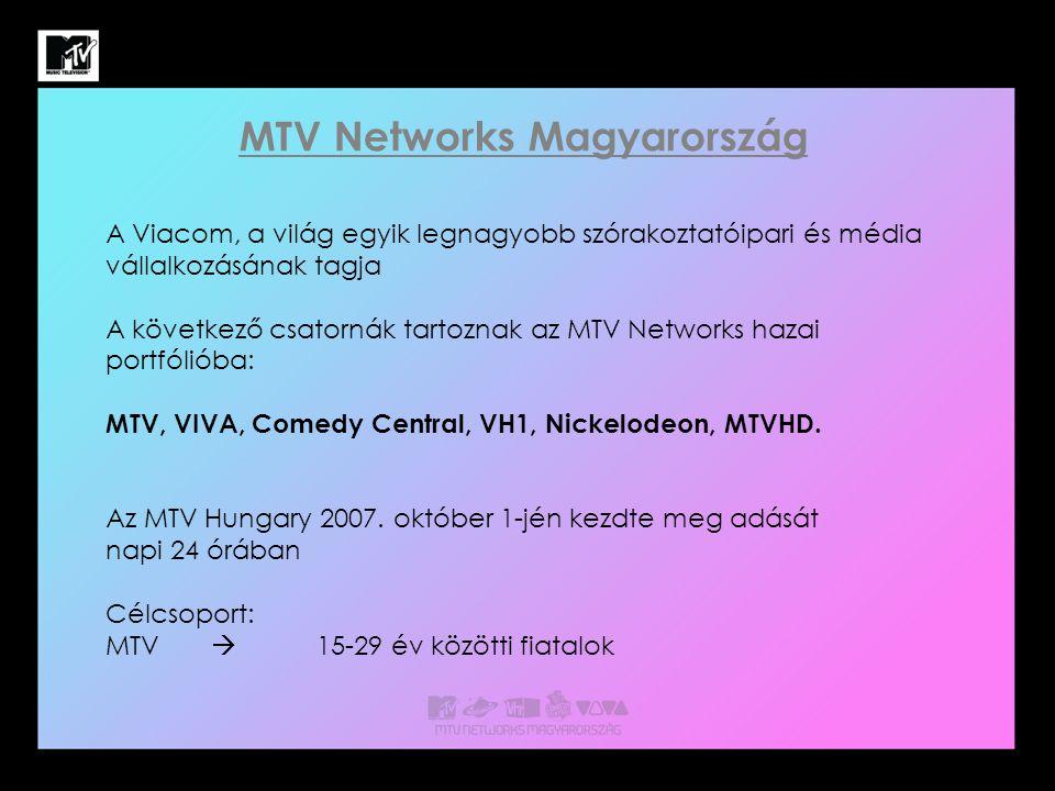 MTV Networks Magyarország A Viacom, a világ egyik legnagyobb szórakoztatóipari és média vállalkozásának tagja A következő csatornák tartoznak az MTV Networks hazai portfólióba: MTV, VIVA, Comedy Central, VH1, Nickelodeon, MTVHD.