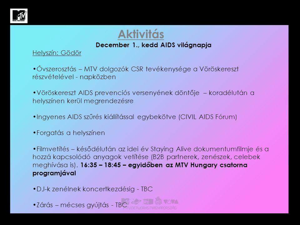 December 1., kedd AIDS világnapja Helyszín: Gödör Óvszerosztás – MTV dolgozók CSR tevékenysége a Vöröskereszt részvételével - napközben Vöröskereszt AIDS prevenciós versenyének döntője – koradélután a helyszínen kerül megrendezésre Ingyenes AIDS szűrés kiállítással egybekötve (CIVIL AIDS Fórum) Forgatás a helyszínen Filmvetítés – késődélután az idei év Staying Alive dokumentumfilmje és a hozzá kapcsolódó anyagok vetítése (B2B partnerek, zenészek, celebek meghívása is).