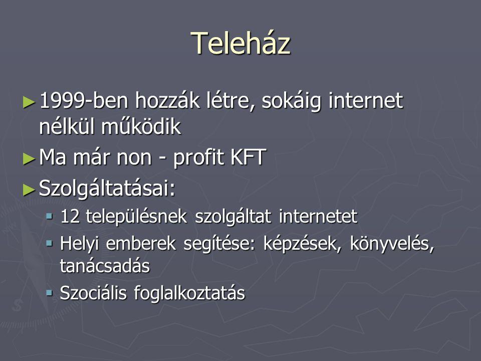 Teleház ► 1999-ben hozzák létre, sokáig internet nélkül működik ► Ma már non - profit KFT ► Szolgáltatásai:  12 településnek szolgáltat internetet  Helyi emberek segítése: képzések, könyvelés, tanácsadás  Szociális foglalkoztatás