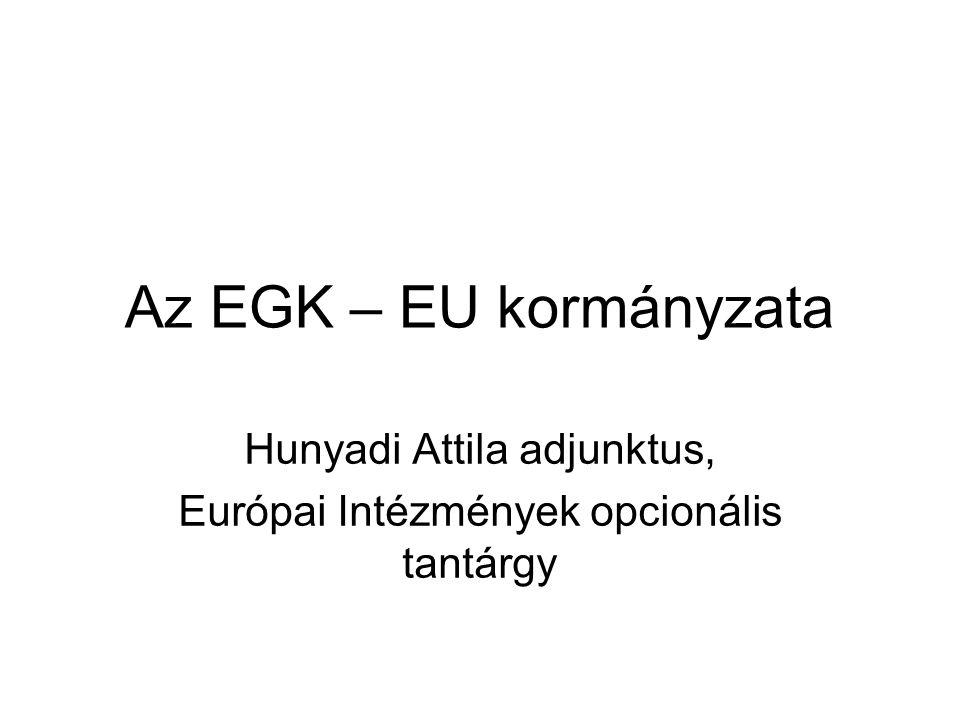 Az EGK – EU kormányzata Hunyadi Attila adjunktus, Európai Intézmények opcionális tantárgy
