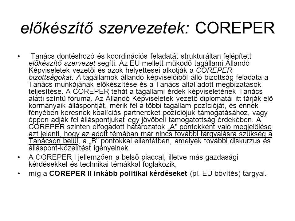előkészítő szervezetek: COREPER Tanács döntéshozó és koordinációs feladatát strukturáltan felépített előkészítő szervezet segíti. Az EU mellett működő