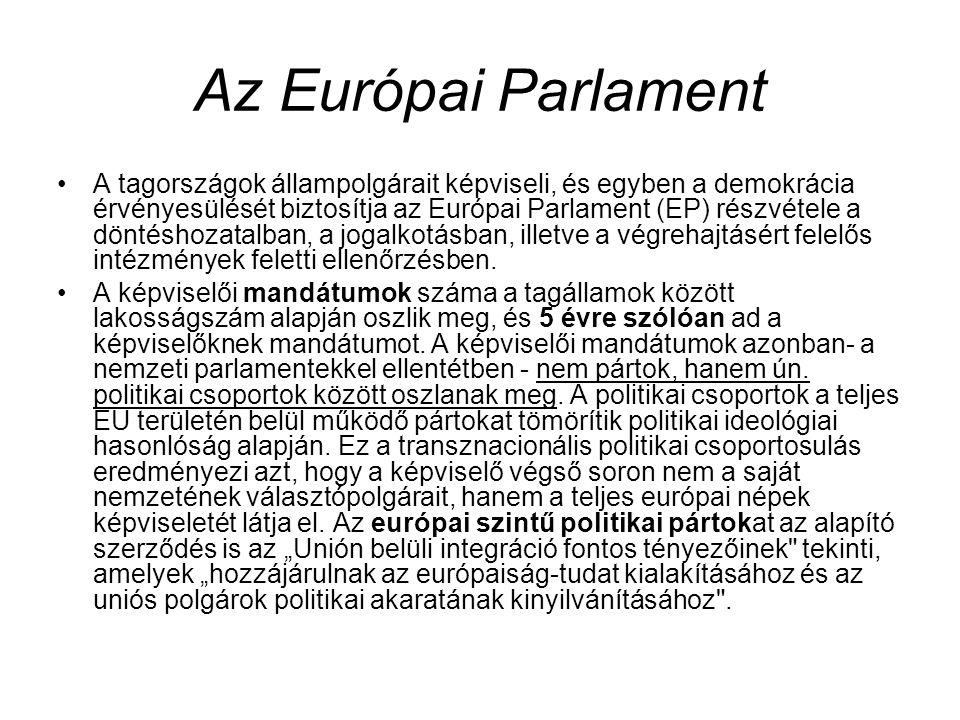 Az Európai Parlament A tagországok állampolgárait képviseli, és egyben a demokrácia érvényesülését biztosítja az Európai Parlament (EP) részvétele a döntéshozatalban, a jogalkotásban, illetve a végrehajtásért felelős intézmények feletti ellenőrzésben.