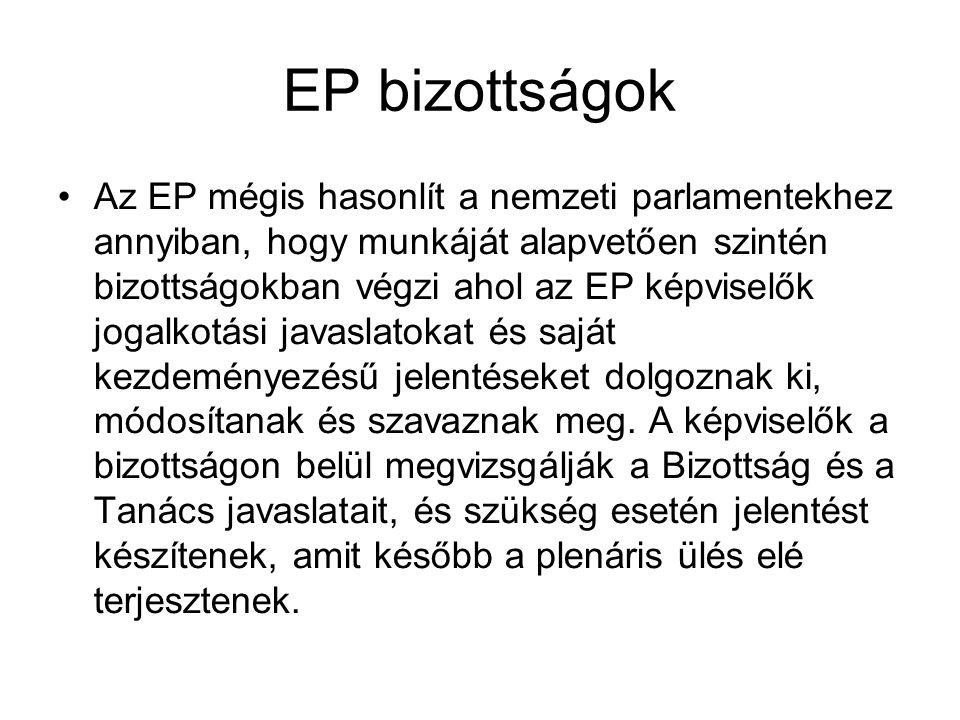 EP bizottságok Az EP mégis hasonlít a nemzeti parlamentekhez annyiban, hogy munkáját alapvetően szintén bizottságokban végzi ahol az EP képviselők jog