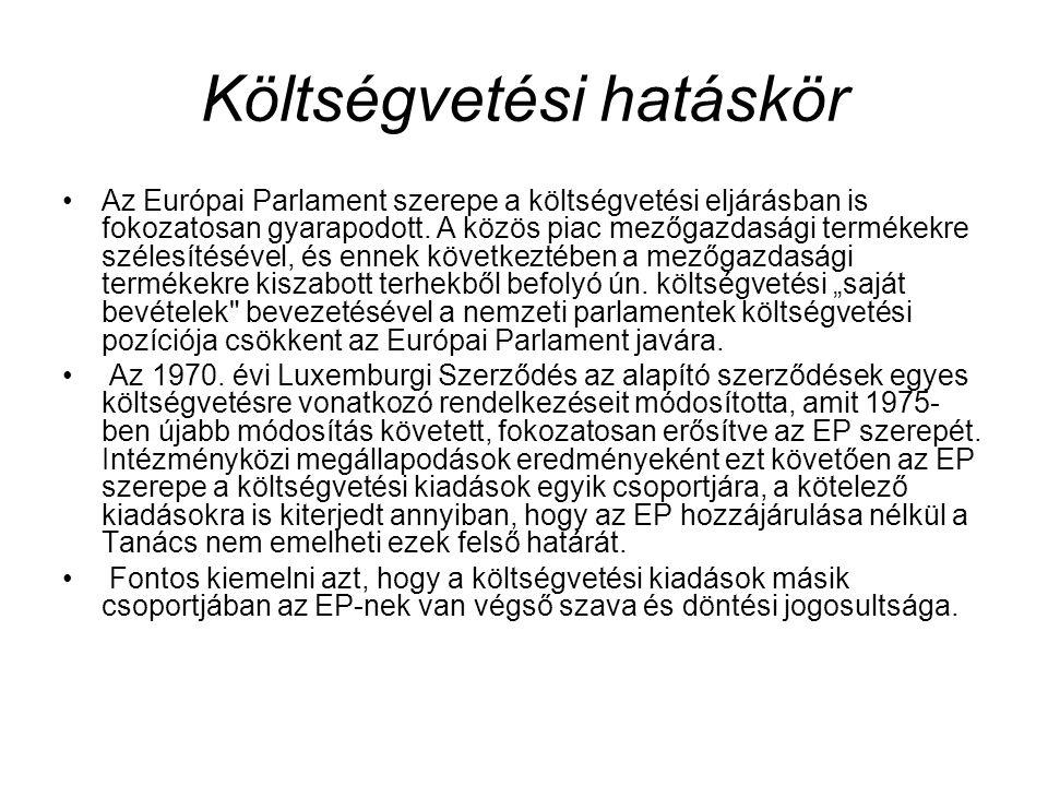 Költségvetési hatáskör Az Európai Parlament szerepe a költségvetési eljárásban is fokozatosan gyarapodott. A közös piac mezőgazdasági termékekre széle