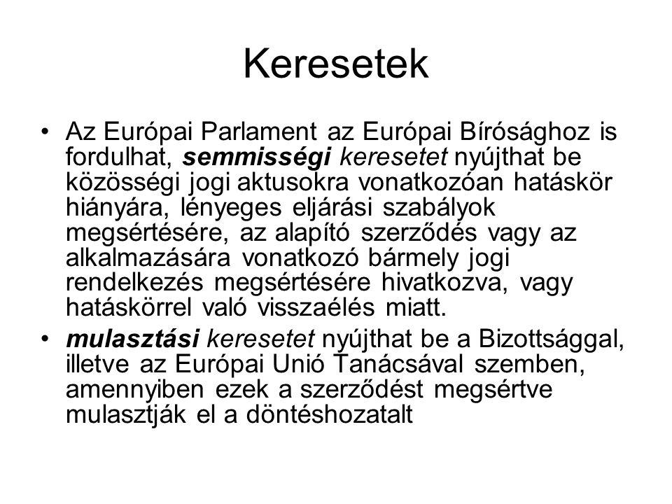 Keresetek Az Európai Parlament az Európai Bírósághoz is fordulhat, semmisségi keresetet nyújthat be közösségi jogi aktusokra vonatkozóan hatáskör hián