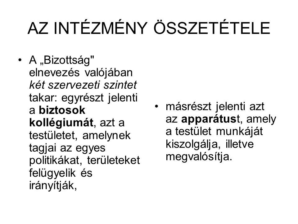"""AZ INTÉZMÉNY ÖSSZETÉTELE A """"Bizottság"""